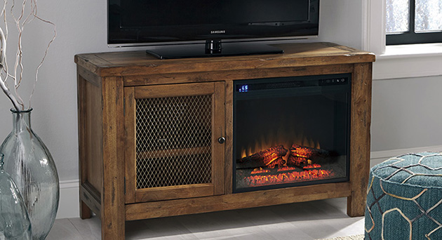 Tamonie Rustic Brown TV Stand w/Fireplace